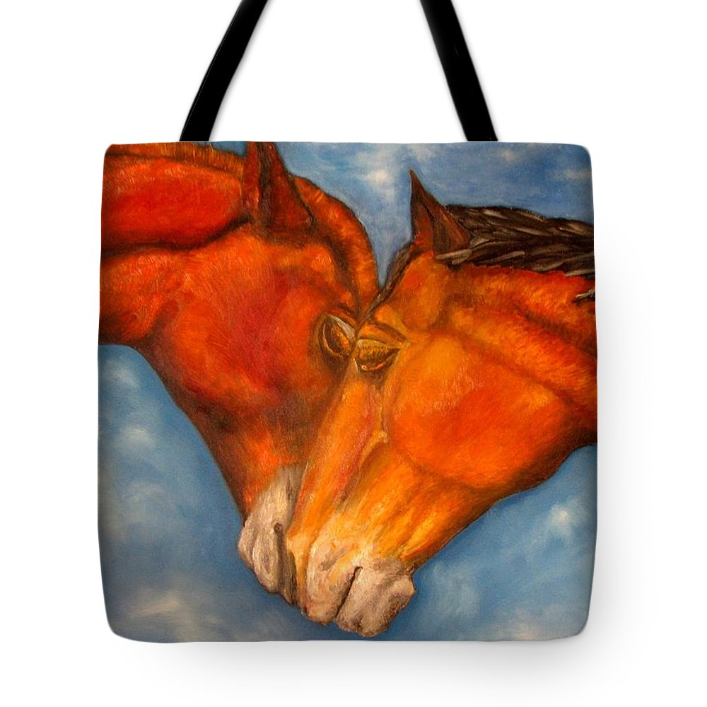 Horses Tote Bag featuring the painting Horses In Love.oil Painting by Natalja Picugina
