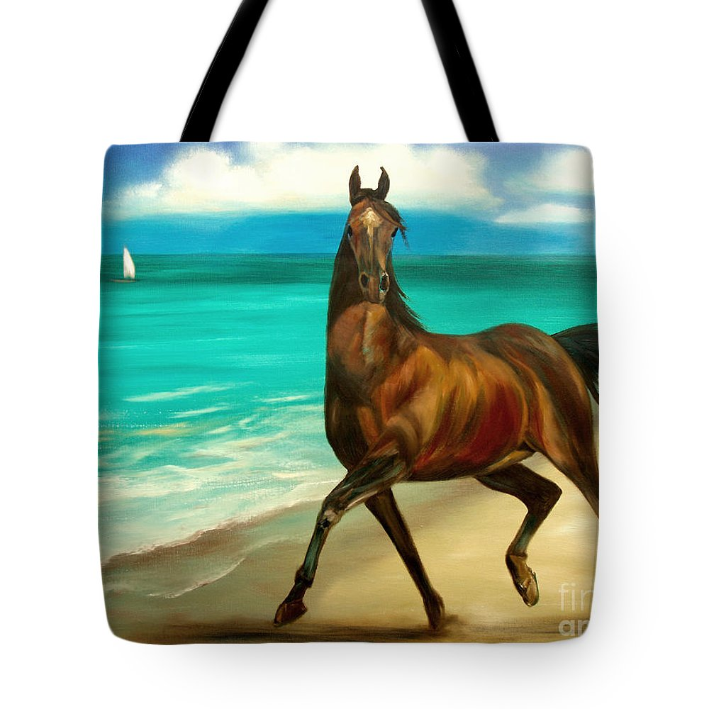 Horse Tote Bag featuring the painting Horses In Paradise Dance by Gina De Gorna