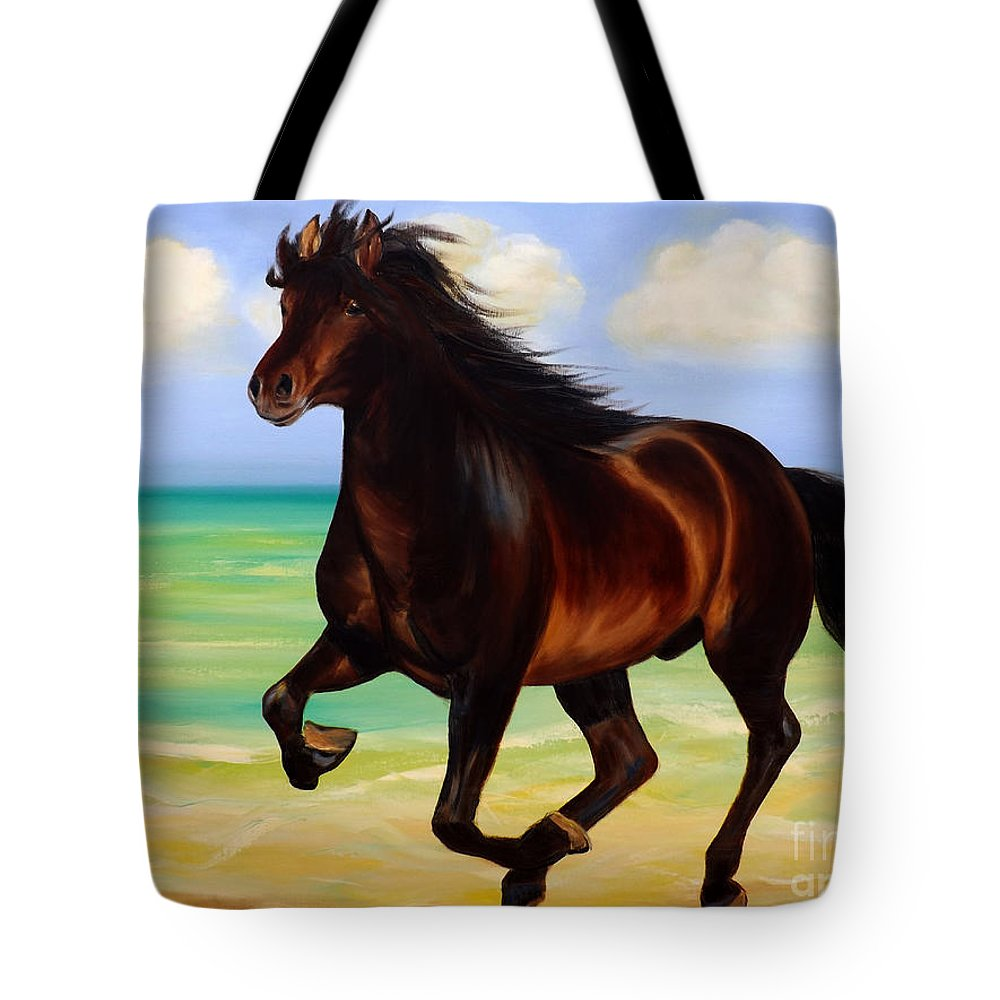 Horses Tote Bag featuring the painting Horses In Paradise Run by Gina De Gorna