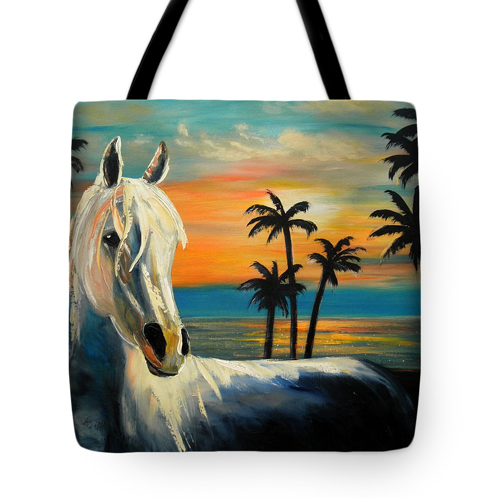 Horse Tote Bag featuring the painting Horses In Paradise Tell Me Your Dream by Gina De Gorna
