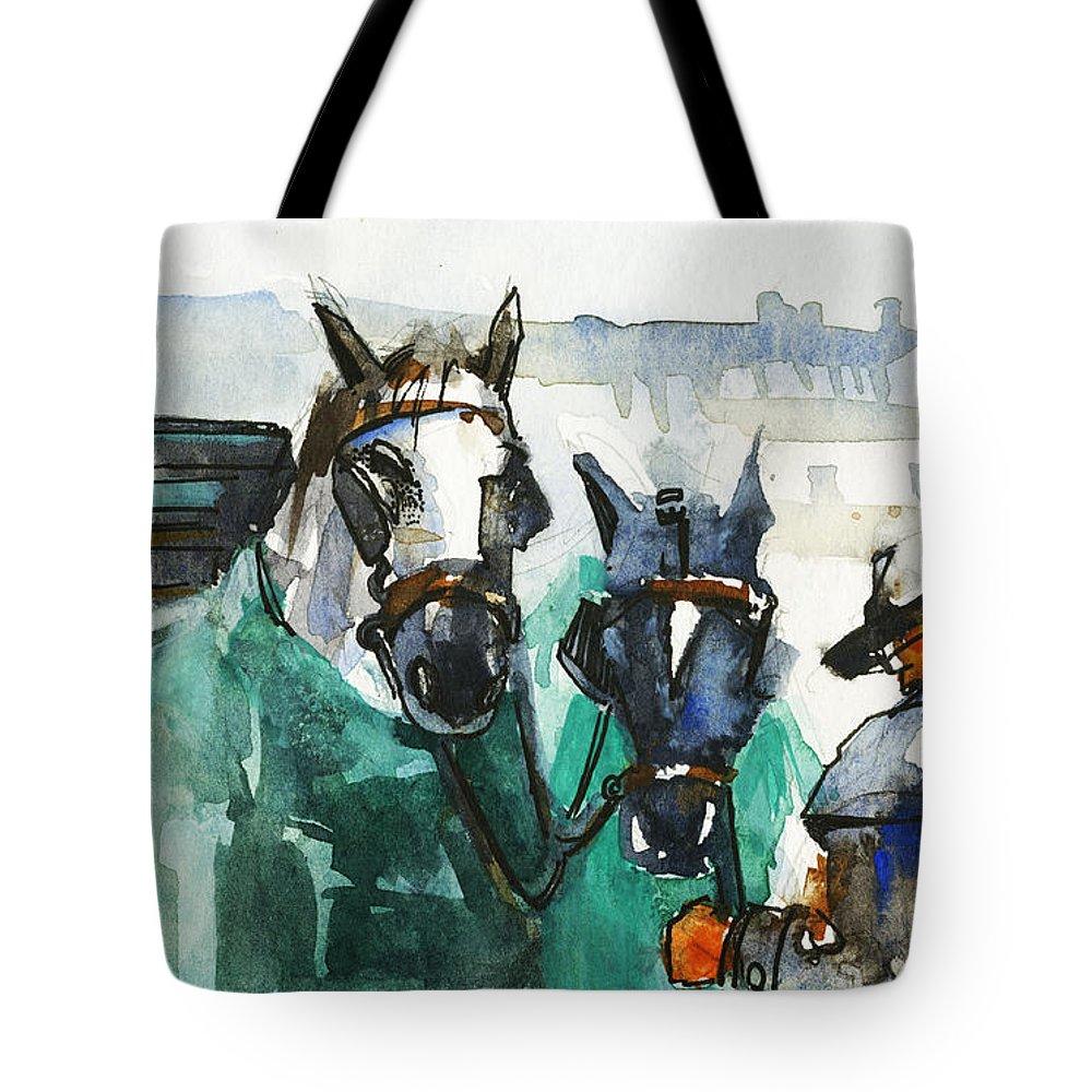 Horses Tote Bag featuring the painting Horses by Kristina Vardazaryan