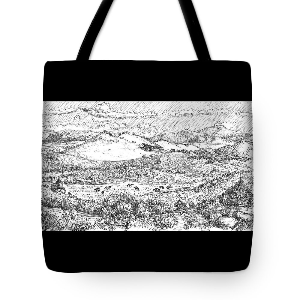 Landscape Tote Bag featuring the photograph Horses On Summer Range Field Sketch by Dawn Senior-Trask