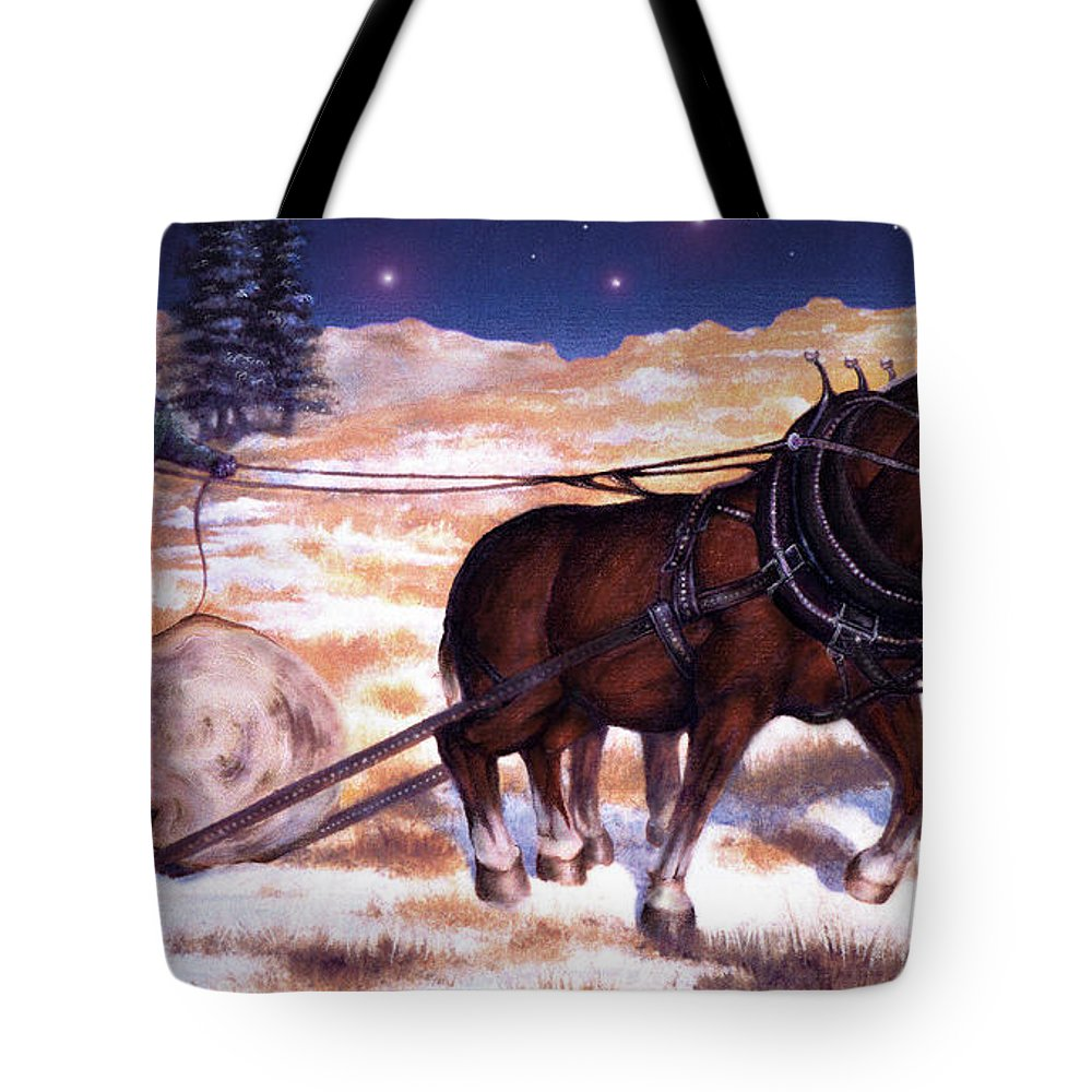 Horse Tote Bag featuring the painting Horses Pulling Log by Curtiss Shaffer