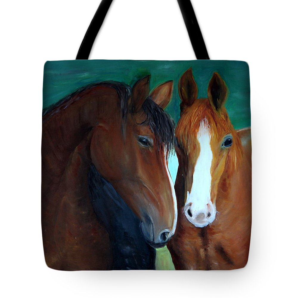 Horses Tote Bag featuring the painting Horses by Taly Bar