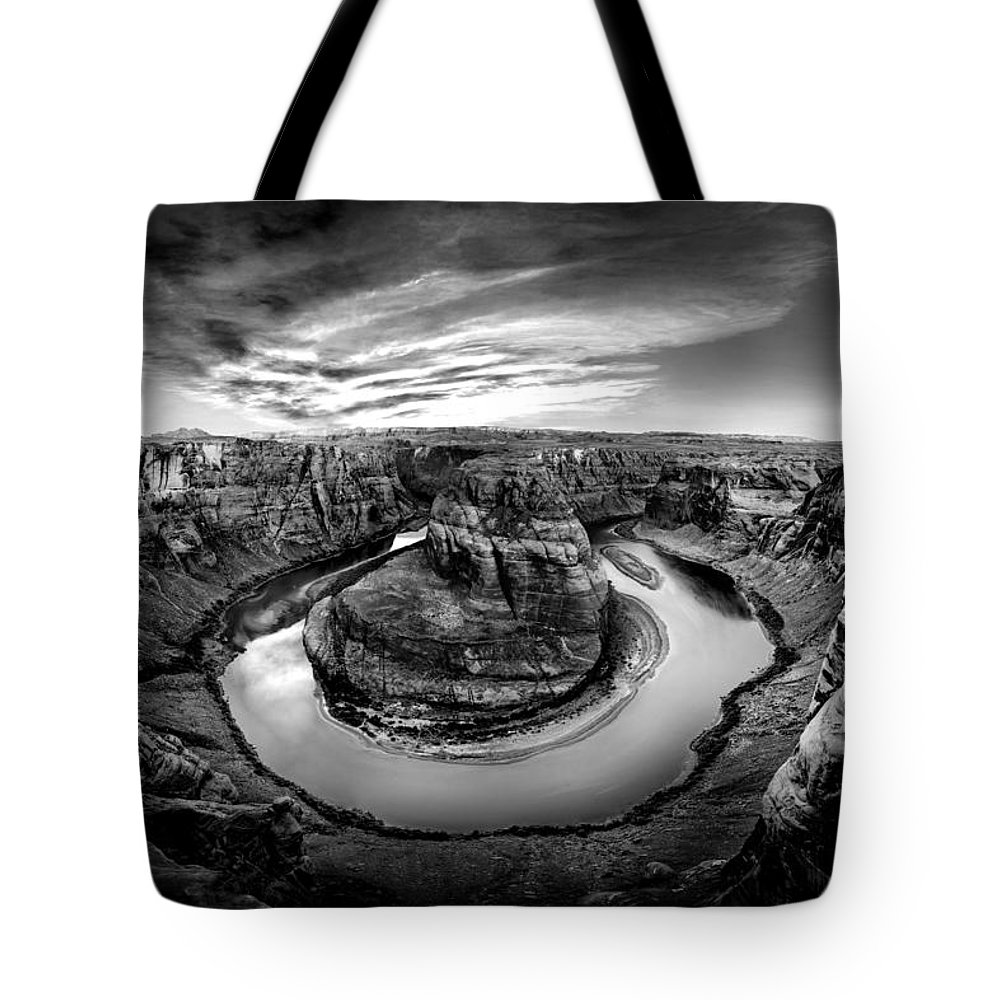 Horseshoe Bend Tote Bag featuring the photograph Horseshoe Bend Bw by Az Jackson
