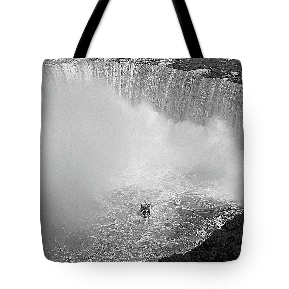 Falls Tote Bag featuring the digital art Horseshoe Falls Black And White by DigiArt Diaries by Vicky B Fuller