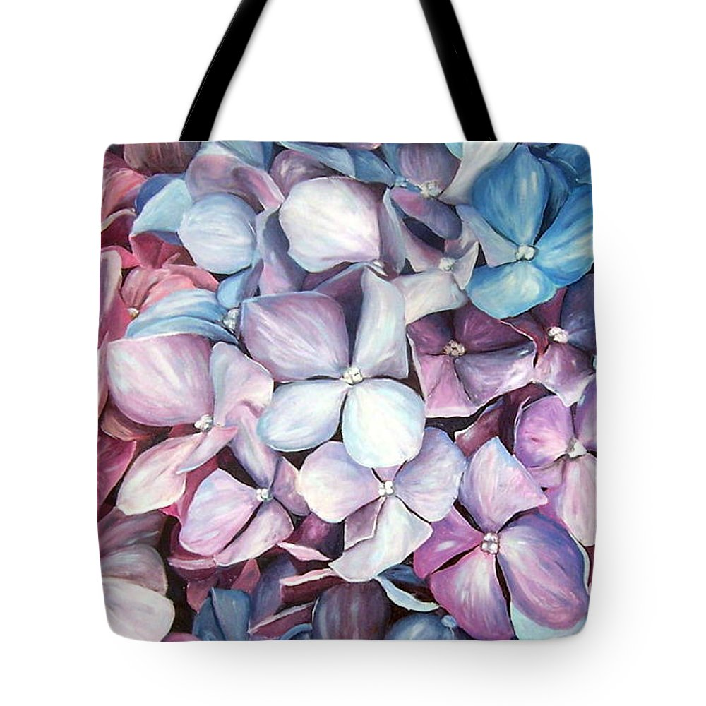 Flowers Nature Blue Violet Macro Tote Bag featuring the painting Hortensias by Natalia Tejera