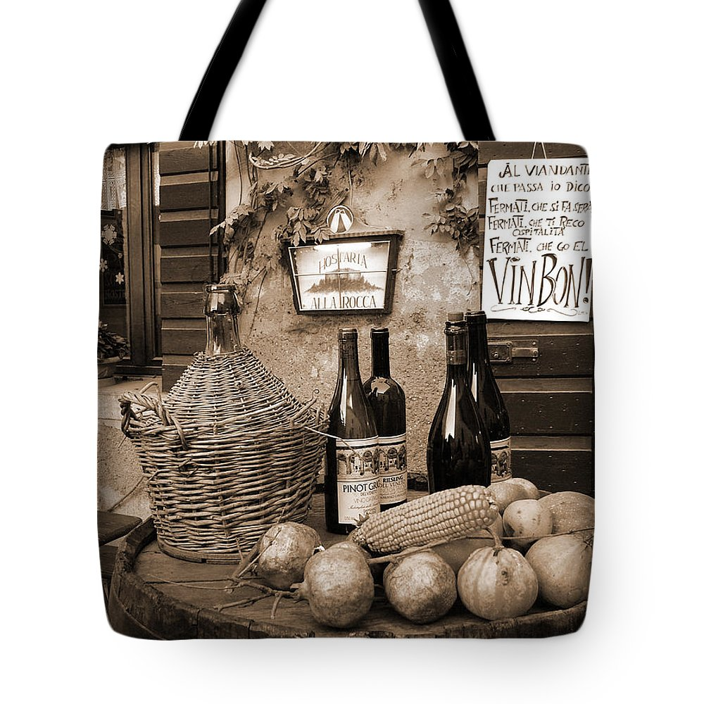 Hostaria Tote Bag featuring the photograph Hostaria Alla Rocca by Donna Corless