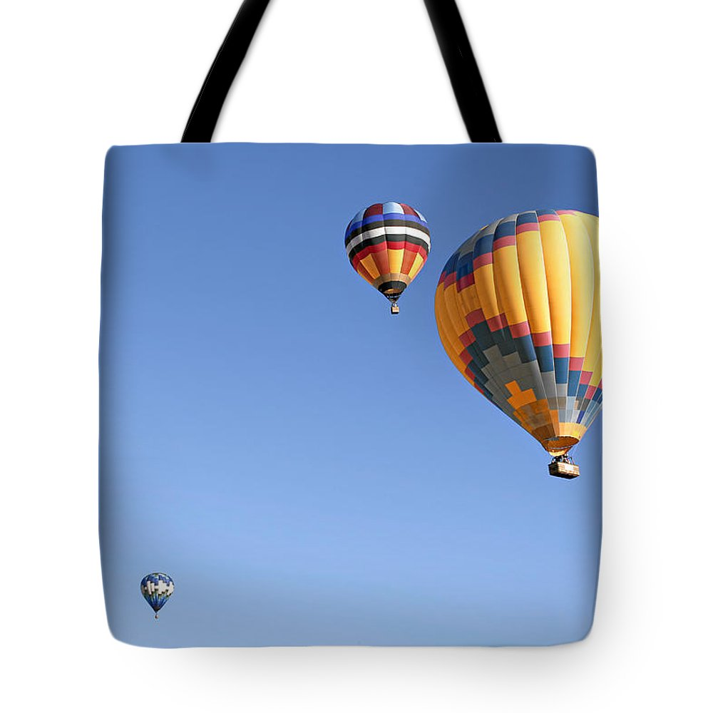 Balloons Tote Bag featuring the photograph Hot Air Balloon Ride A Special Adventure by Christine Till