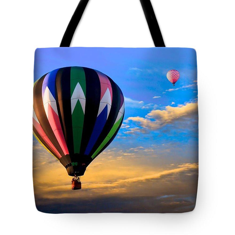 Hot Air Balloon Tote Bag featuring the photograph Hot Air Balloons At Sunset by Bob Orsillo