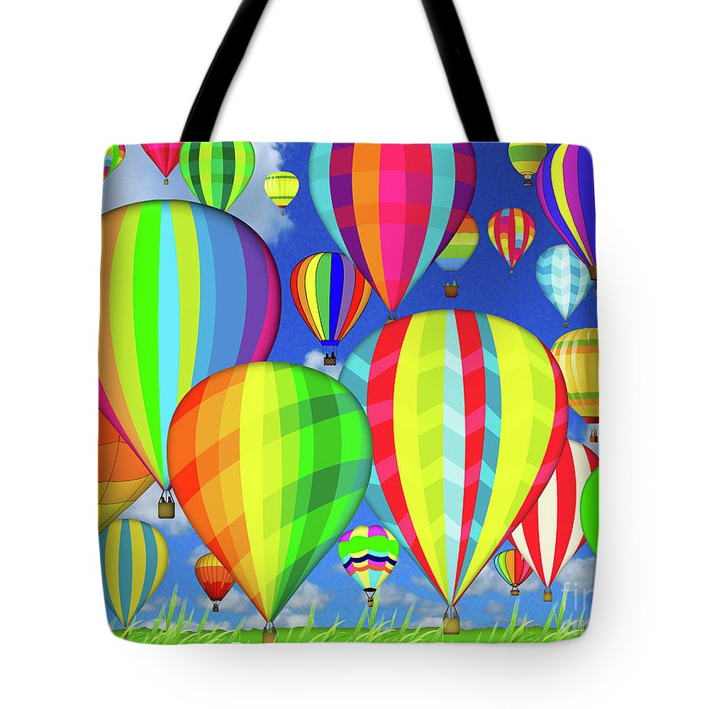 Hot Tote Bag featuring the digital art Hot Air Balloons by Jean Plout
