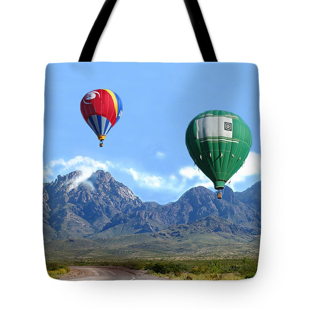 Organ Mountains-desert Peaks National Monument Tote Bag featuring the photograph Hot Air Over The Organ Mountains by Jack Pumphrey