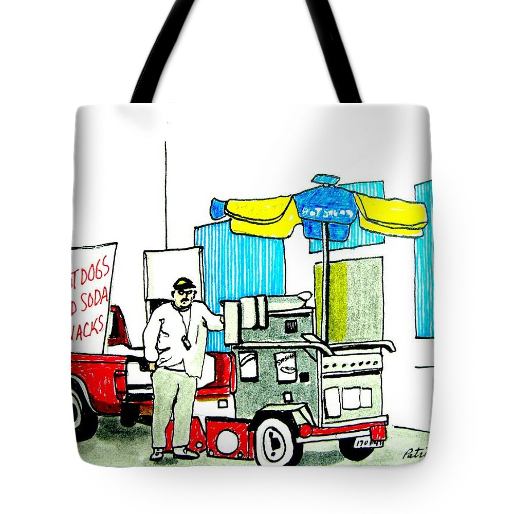 Asbury Art Tote Bag featuring the drawing Hot Dog Guy Of Asbury Park by Patricia Arroyo