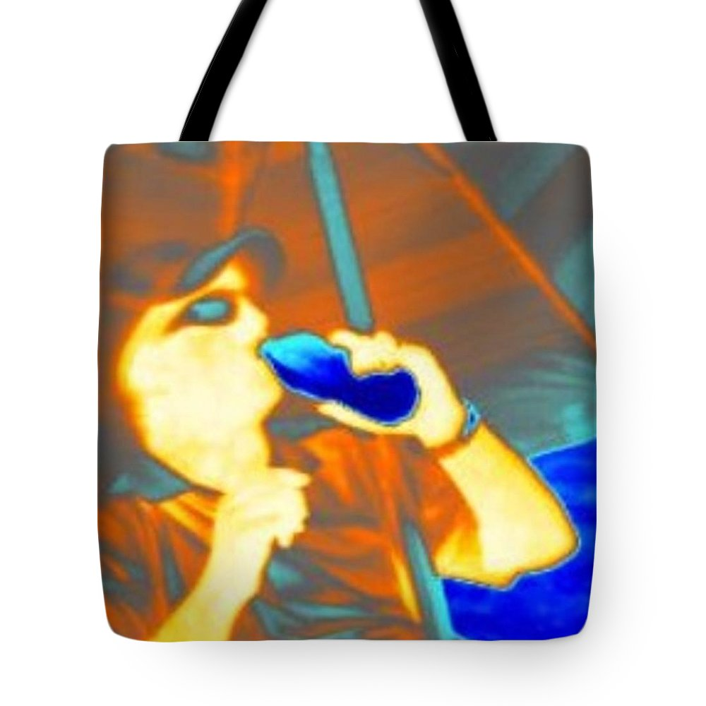 Hot Tote Bag featuring the digital art Hot Dude Cool Drink by Shirley Goss