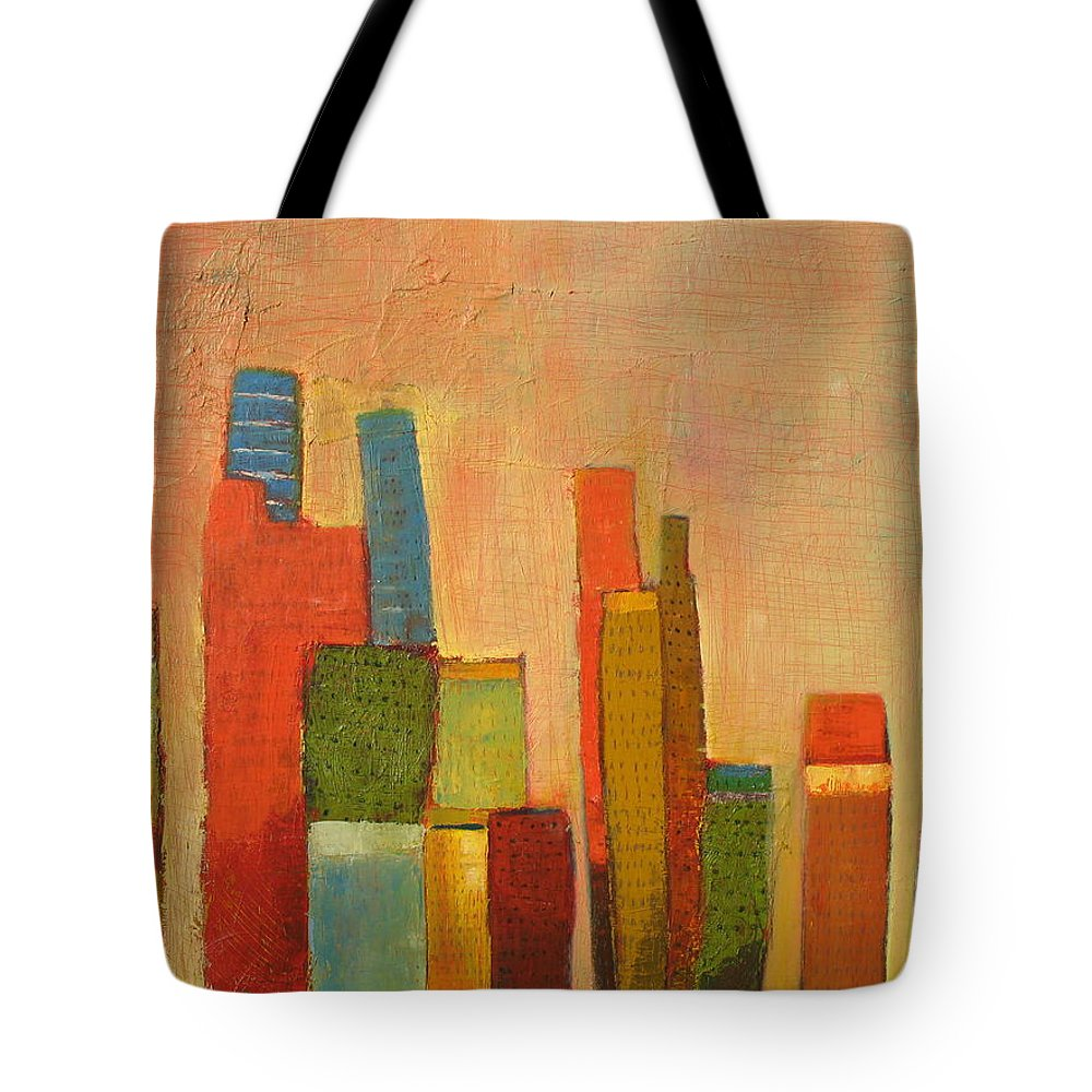Abstract Cityscape Tote Bag featuring the painting Hot Manhattan by Habib Ayat