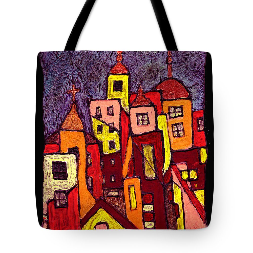 City Scapes Tote Bag featuring the painting Hot Night In The City by Wayne Potrafka