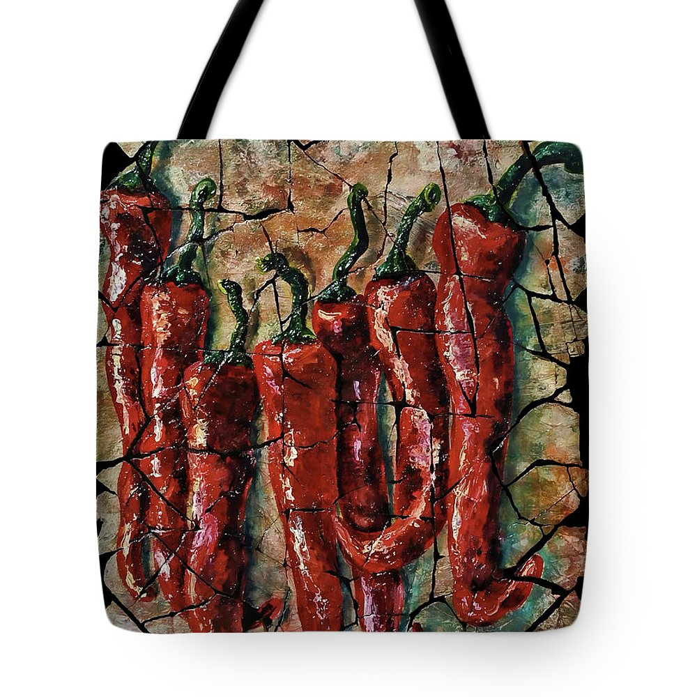 Lenaowens Tote Bag featuring the painting Hot Pepper Fresco by Lena Owens OLena Art