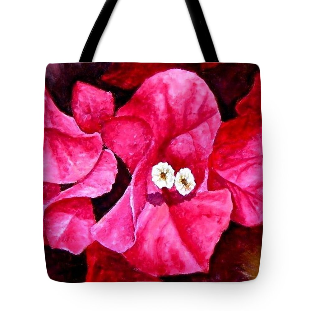 Oil Tote Bag featuring the painting Hot Pink Bougainvillea by Darla Brock
