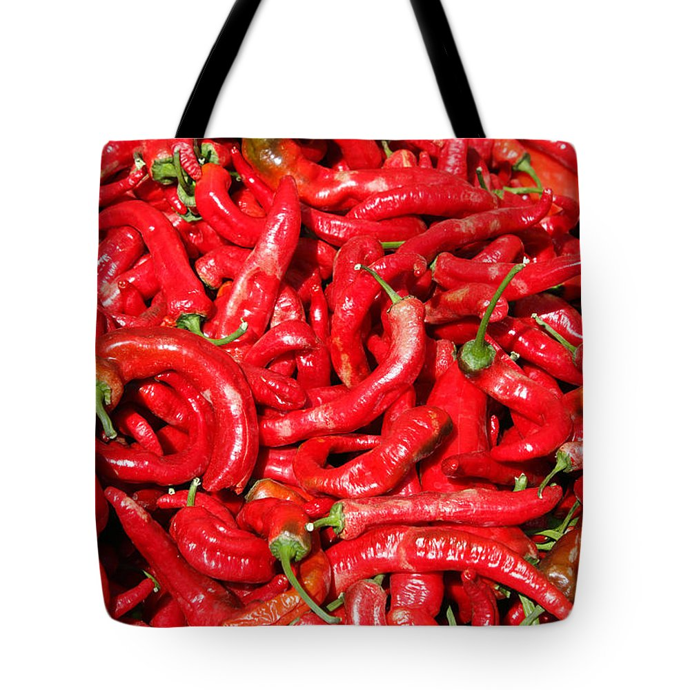 Hot Tote Bag featuring the photograph Hot Red Peppers In The Summer Sun by Lee Serenethos