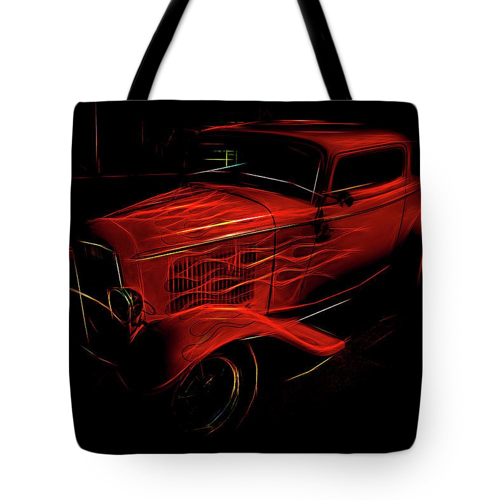 Hot Rod Tote Bag featuring the photograph Hot Rod Red by Melvin Busch