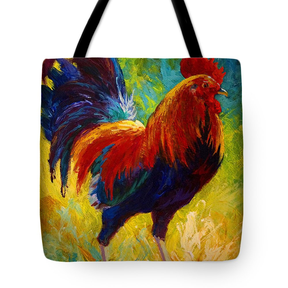 Rooster Tote Bag featuring the painting Hot Shot - Rooster by Marion Rose