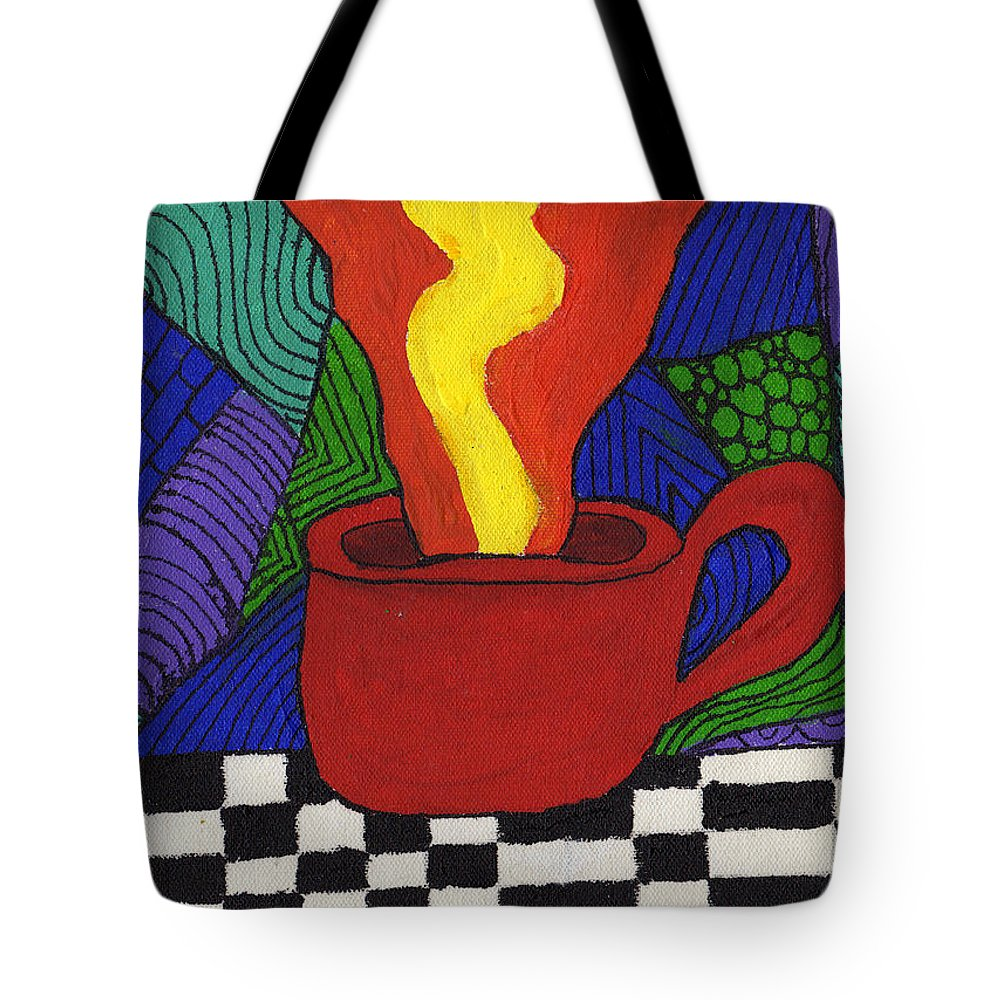 Tea Tote Bag featuring the painting Hot Spot Of T by Wayne Potrafka