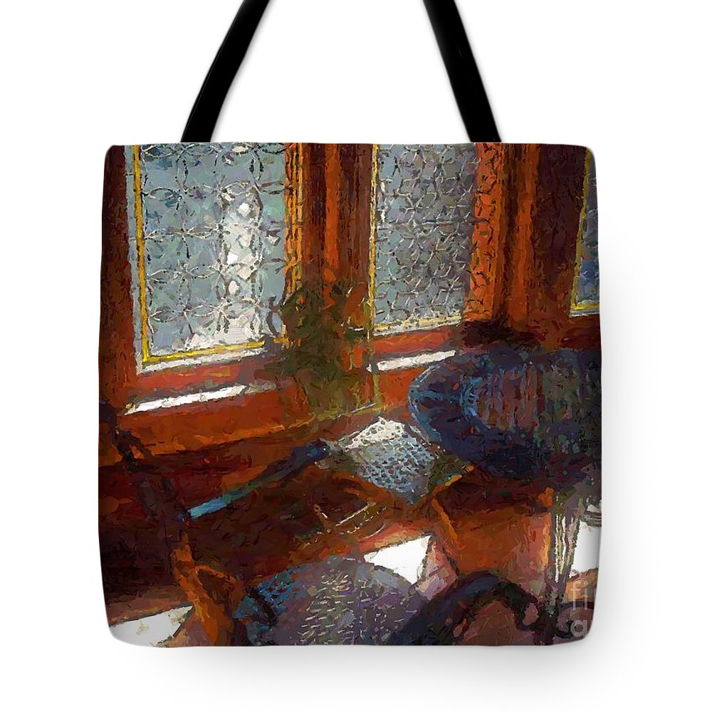 Chairs Tote Bag featuring the painting Hot Sun On Wrought Iron by RC DeWinter