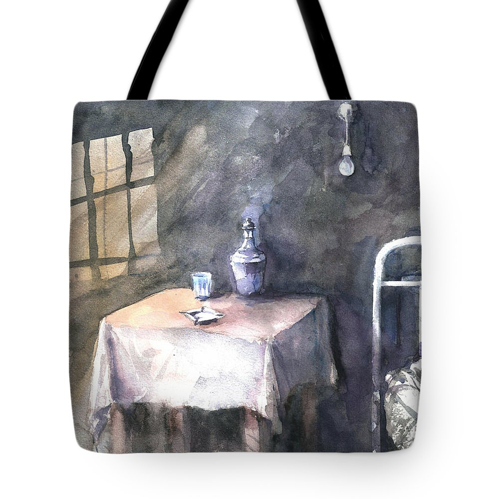 Old Tote Bag featuring the painting Hotel Star... by Faruk Koksal