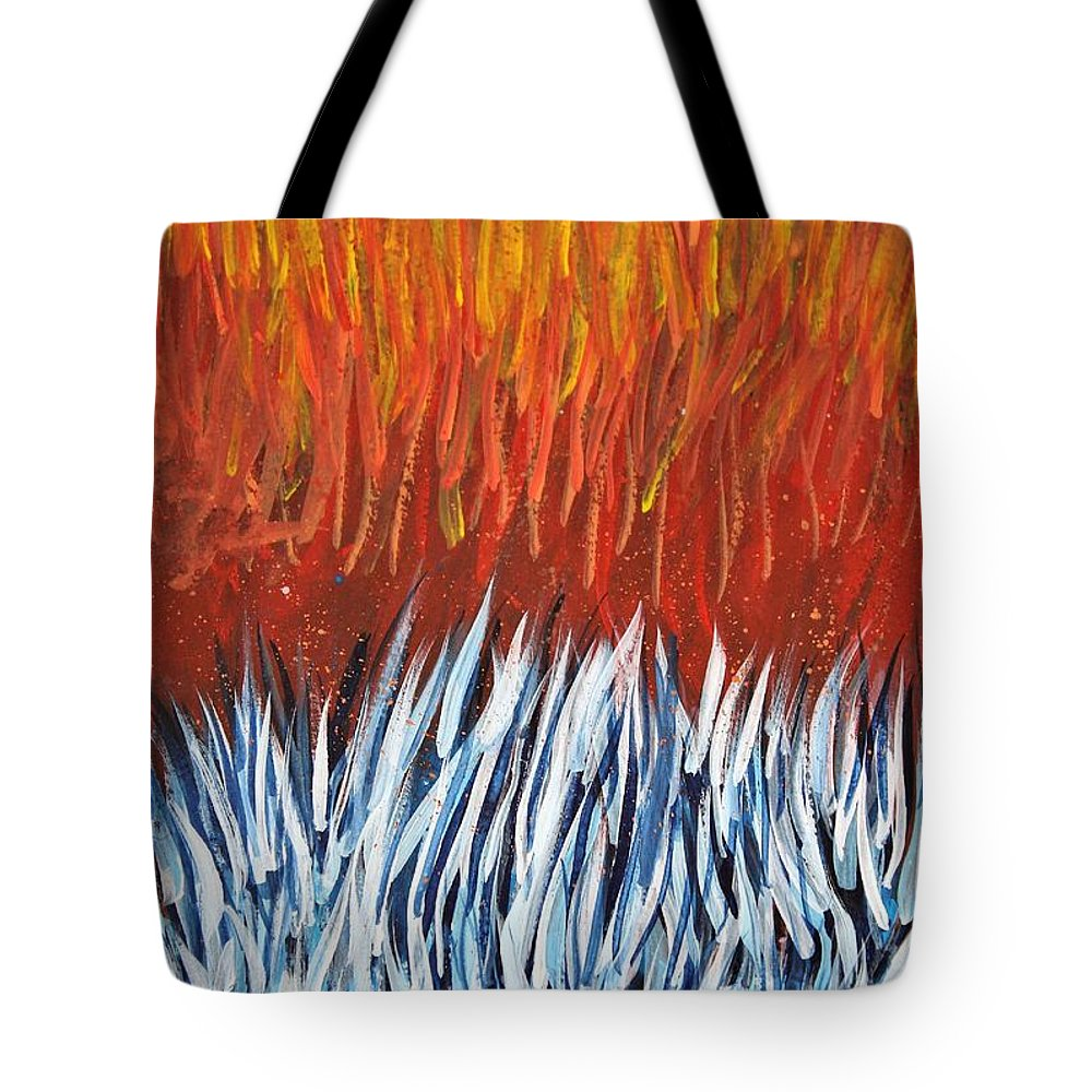Abstract Tote Bag featuring the painting Hotter Than Hot by Tyler Jones