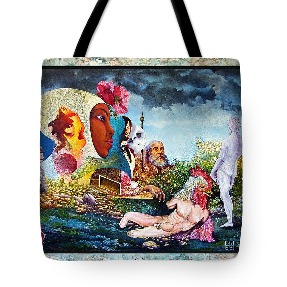 Surrealism Tote Bag featuring the mixed media Hour Of The Cock by Otto Rapp