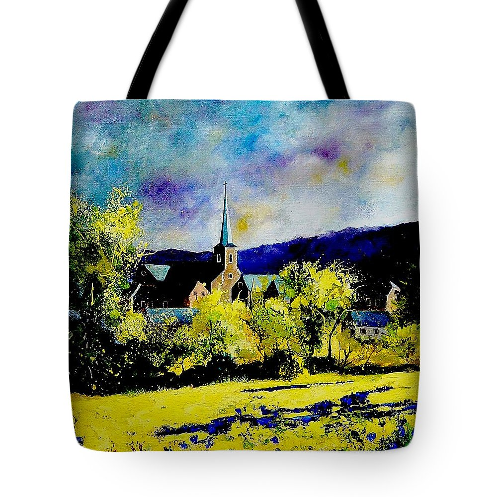 Poppies Tote Bag featuring the painting Hour Village Belgium by Pol Ledent