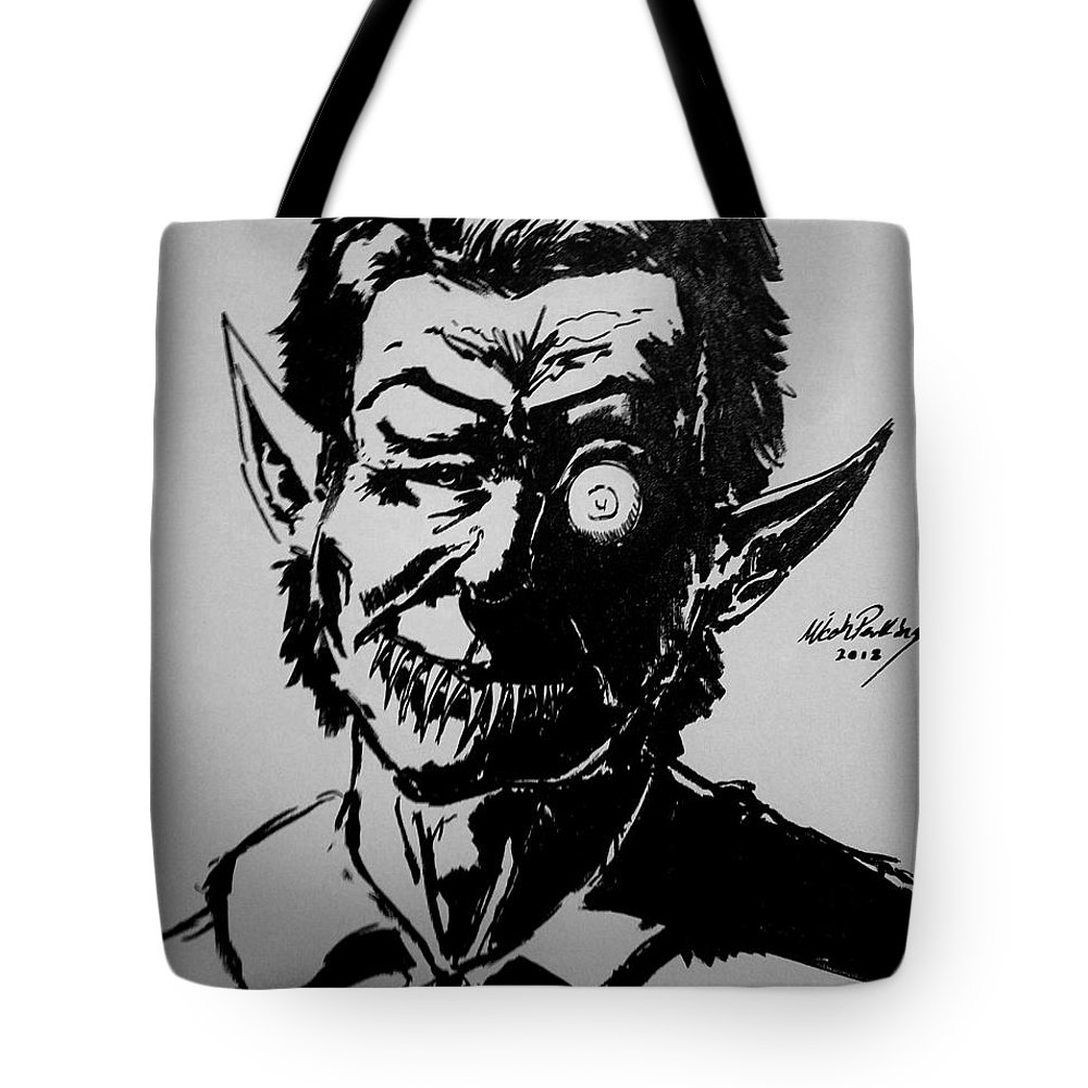 Creepy Art Tote Bag featuring the mixed media Hourglass by Jackson Perkins