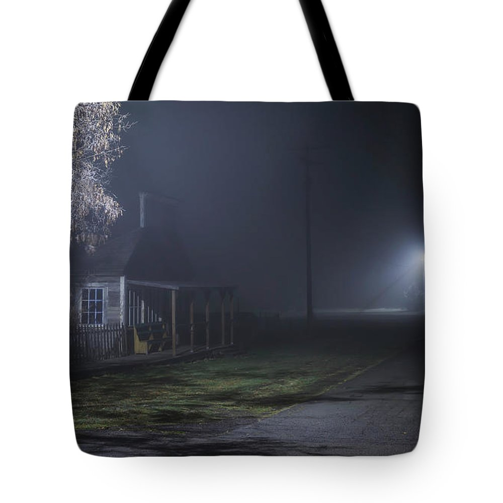 Night Tote Bag featuring the photograph House At The End Of The Road by Cat Connor