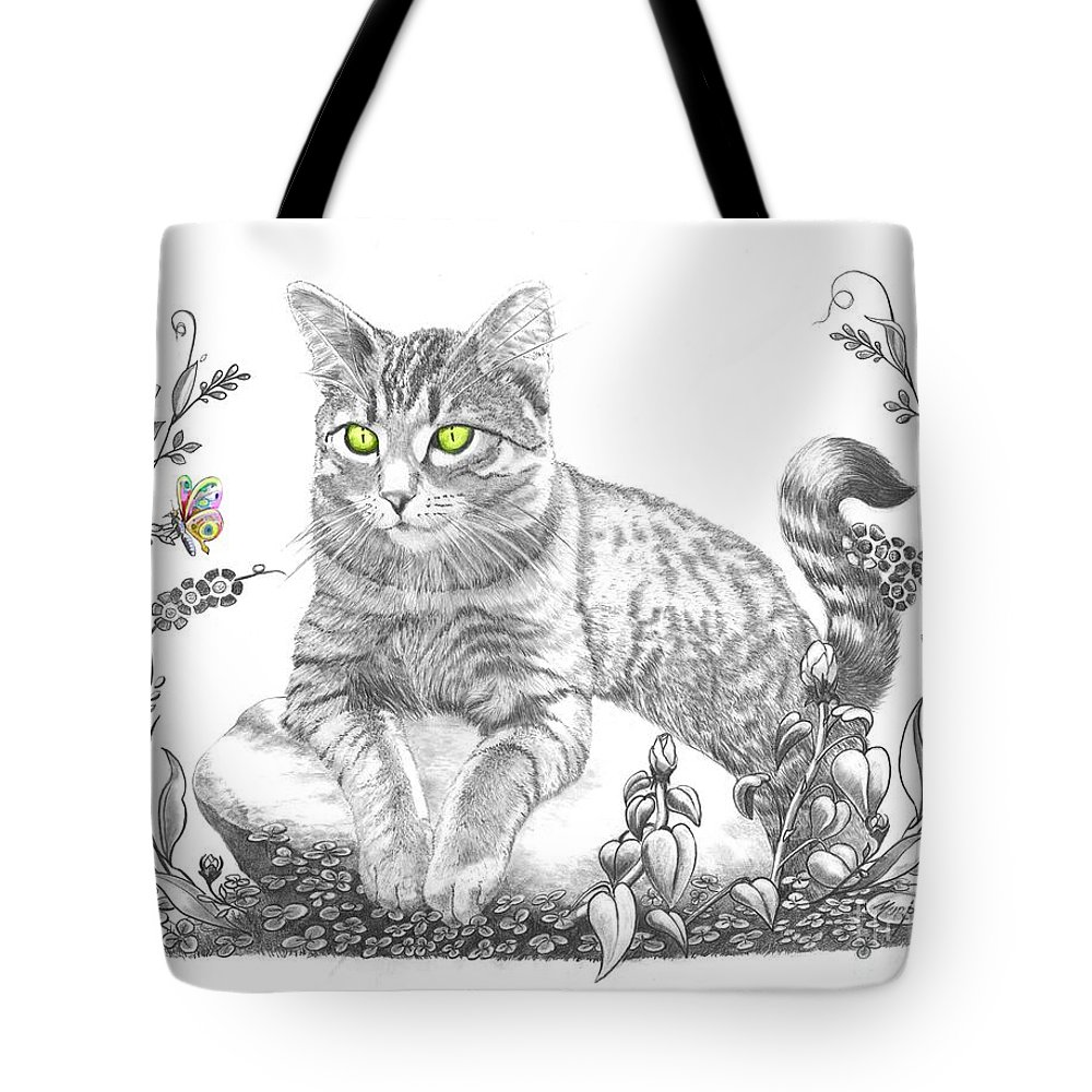 Cat Tote Bag featuring the drawing House Cat by Murphy Elliott