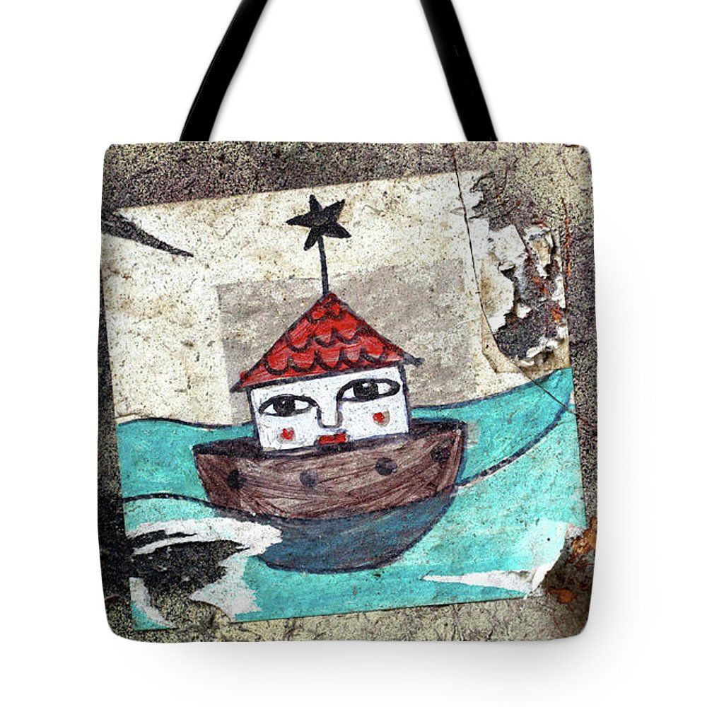 Graffiti Tote Bag featuring the painting House In The Sea by Roger Muntes