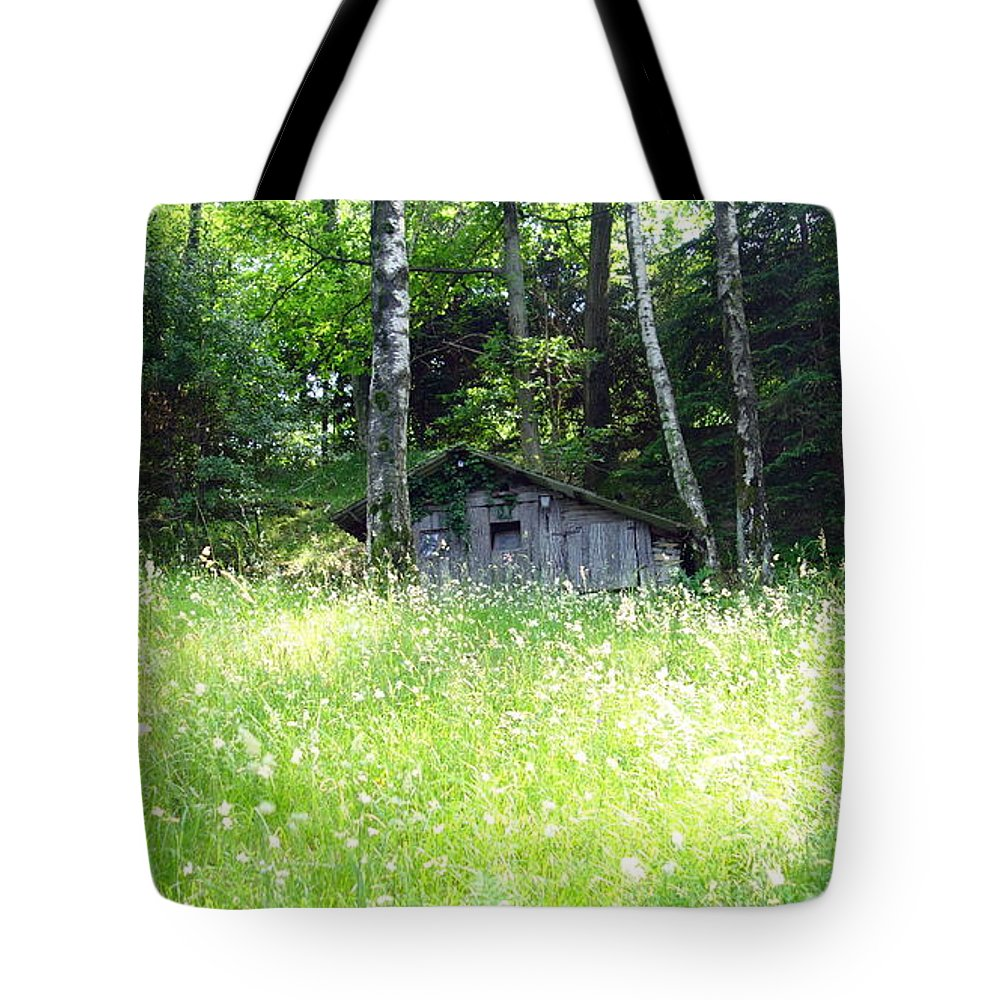 House Tote Bag featuring the photograph House In The Wood by Valentino Visentini