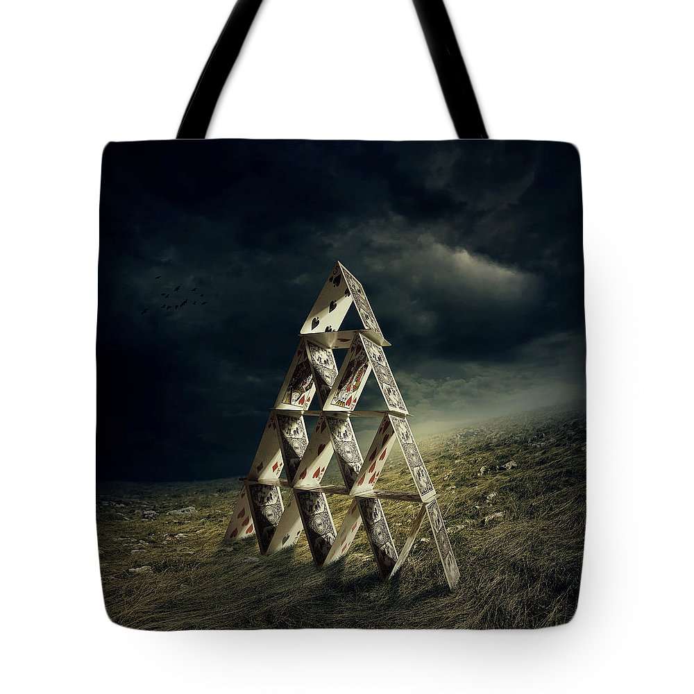 Book Tote Bag featuring the digital art House Of Cards by Zoltan Toth