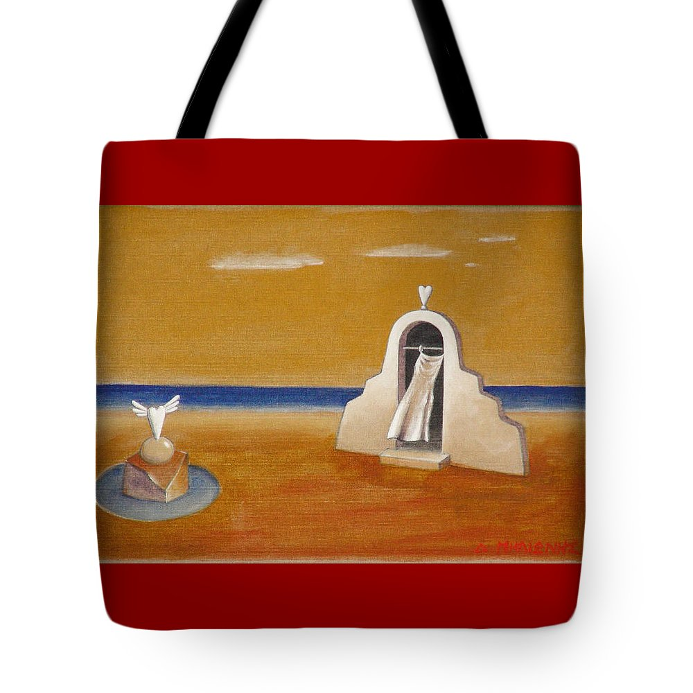 Chirico Tote Bag featuring the painting House Of Eros by Dimitris Milionis