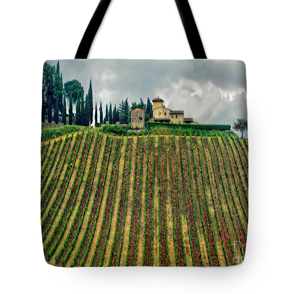Italy Tote Bag featuring the photograph House On A Hill-tuscany by Jennie Breeze