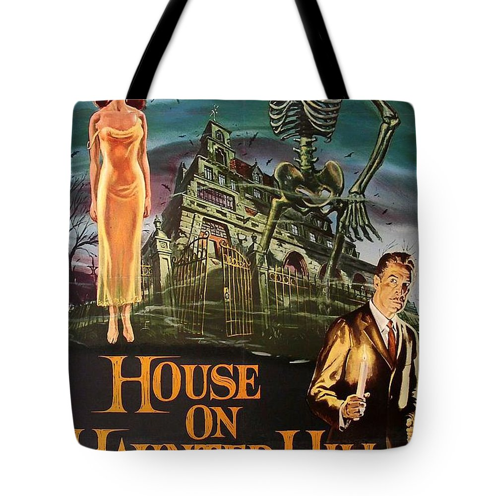 Movie Tote Bag featuring the mixed media House On Haunted Hill 1958 by Mountain Dreams