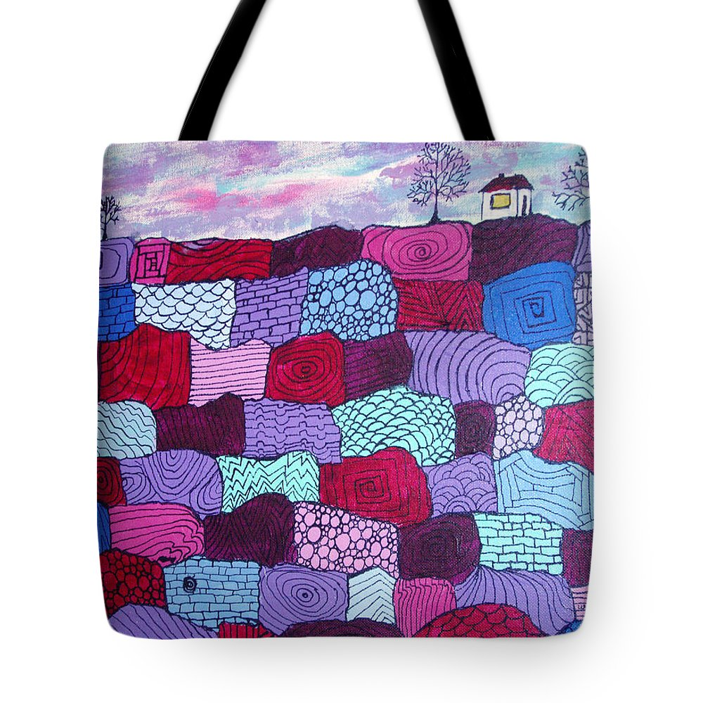 Folk Art Tote Bag featuring the painting House On Top Of Patchwork Hill by Wayne Potrafka