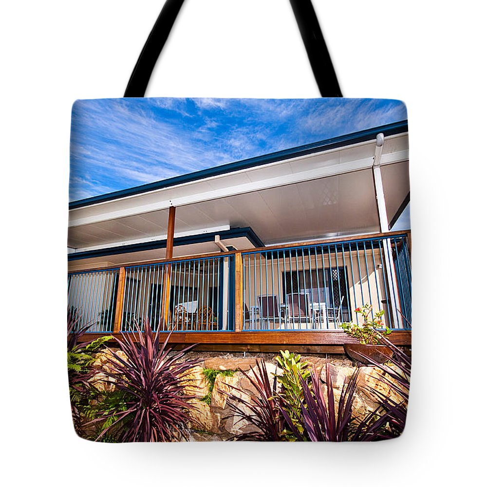 House Tote Bag featuring the photograph House With Deck by Darren Burton