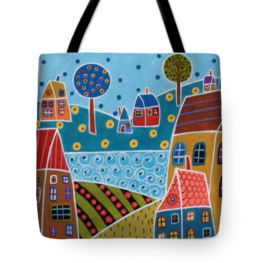 Landscape Tote Bag featuring the painting Houses And Trees By The Water by Karla Gerard