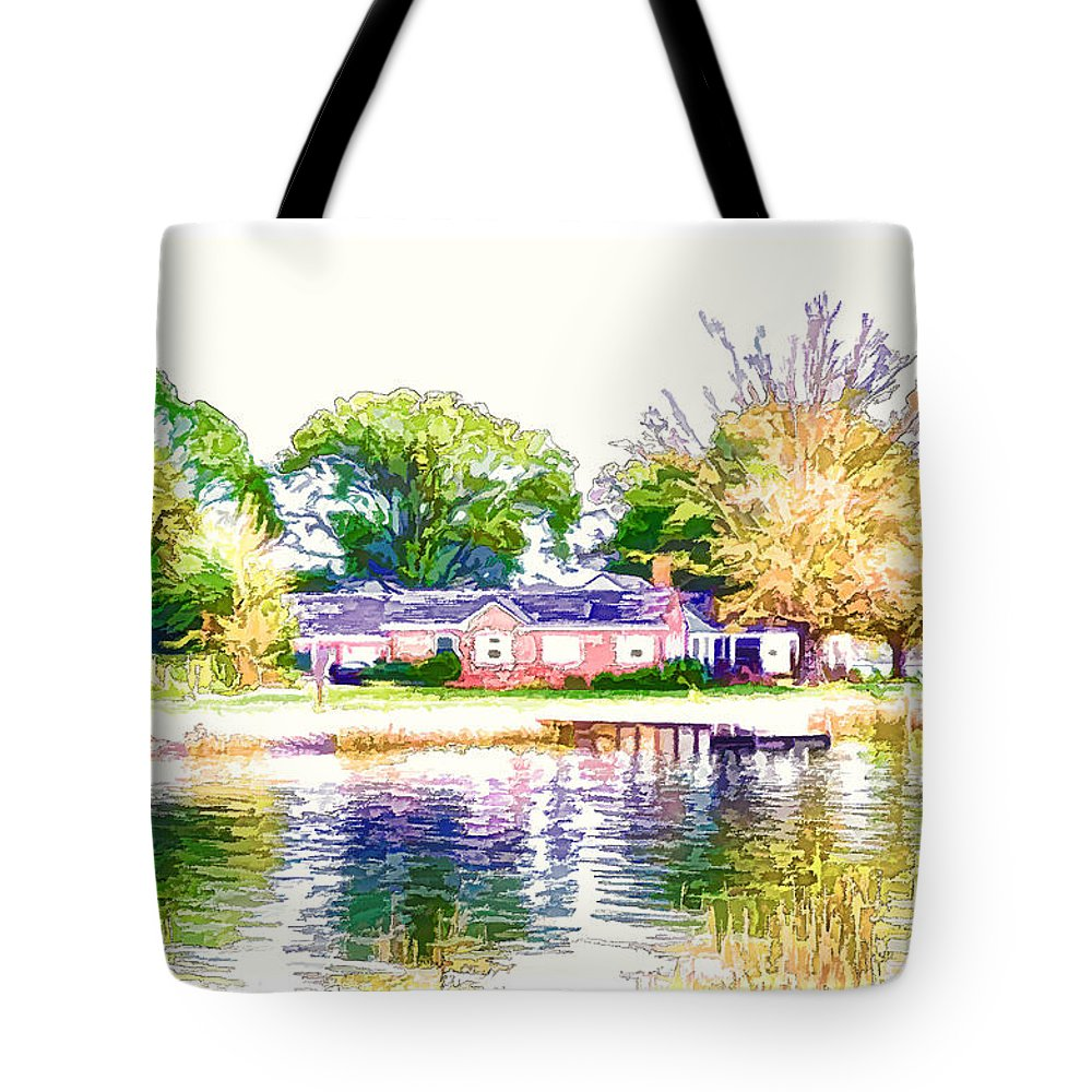Houses By The Lake Tote Bag featuring the painting Houses By The Lake 1 by Jeelan Clark