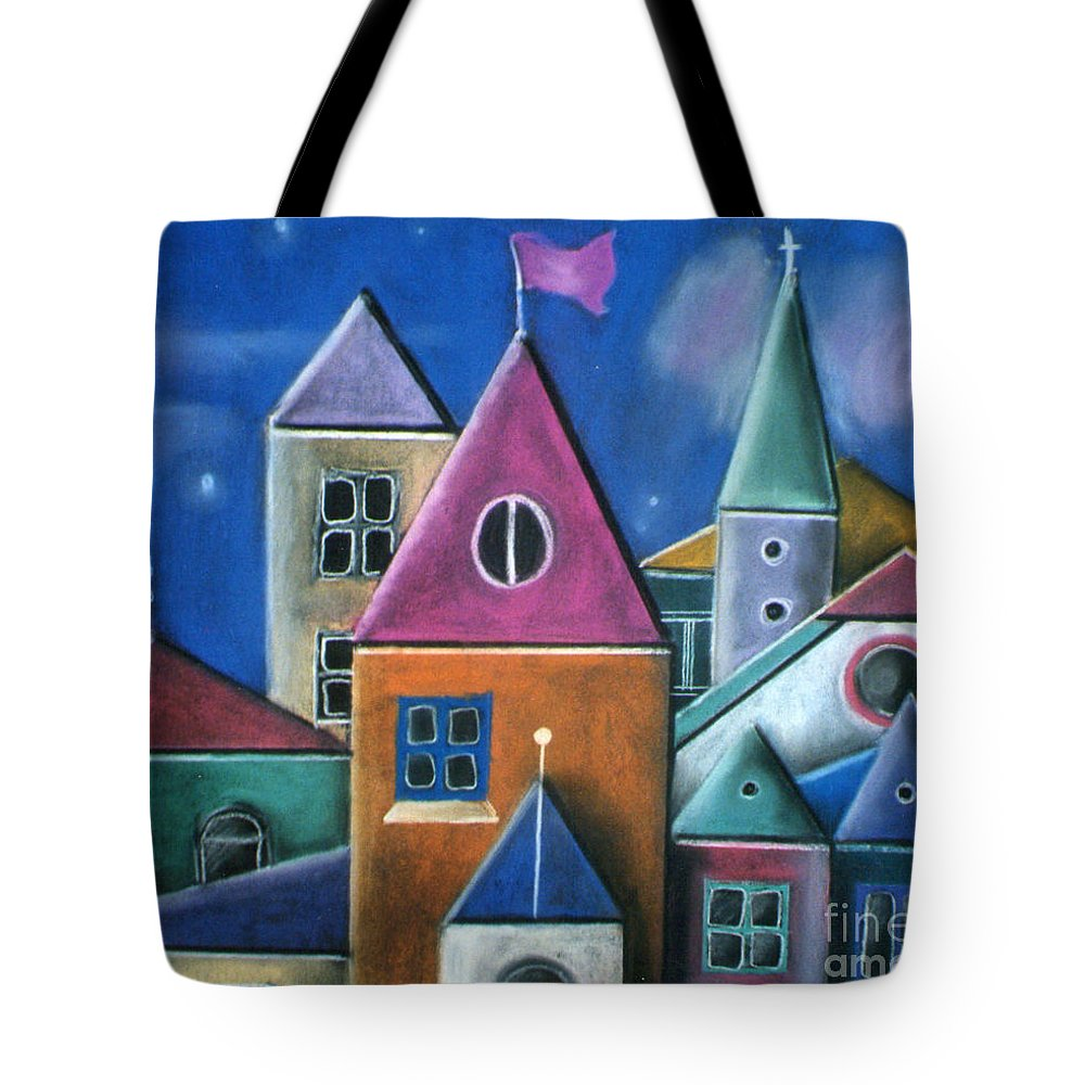 Houses Tote Bag featuring the pastel Houses by Caroline Peacock