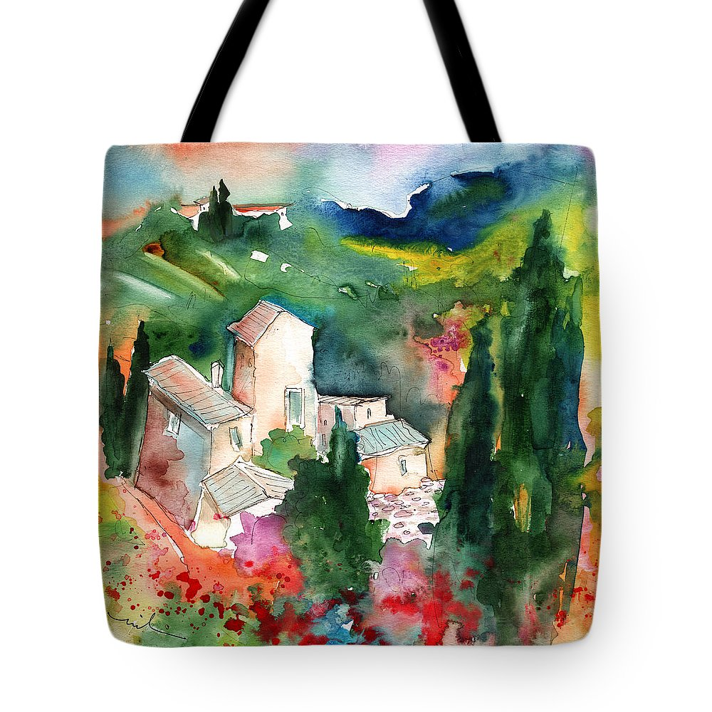 Landscapes Tote Bag featuring the painting Houses In Montepulciano In Tuscany 01 by Miki De Goodaboom