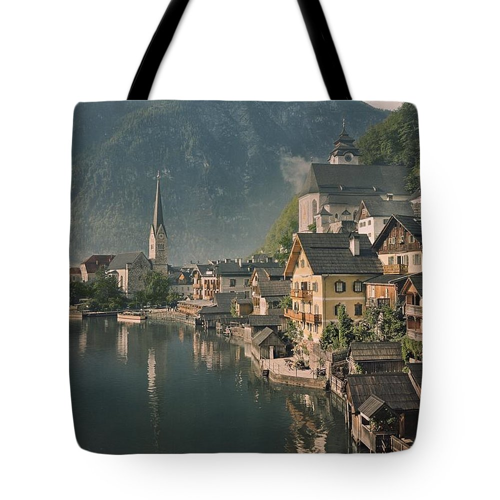 Color Image Tote Bag featuring the photograph Houses Line The Lake Of Hallstatt by W. Robert Moore