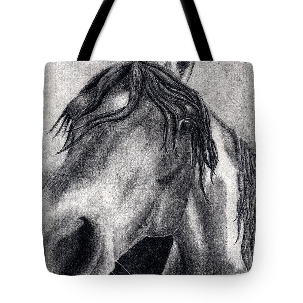 Horse Tote Bag featuring the drawing Houston by Anna Katherine