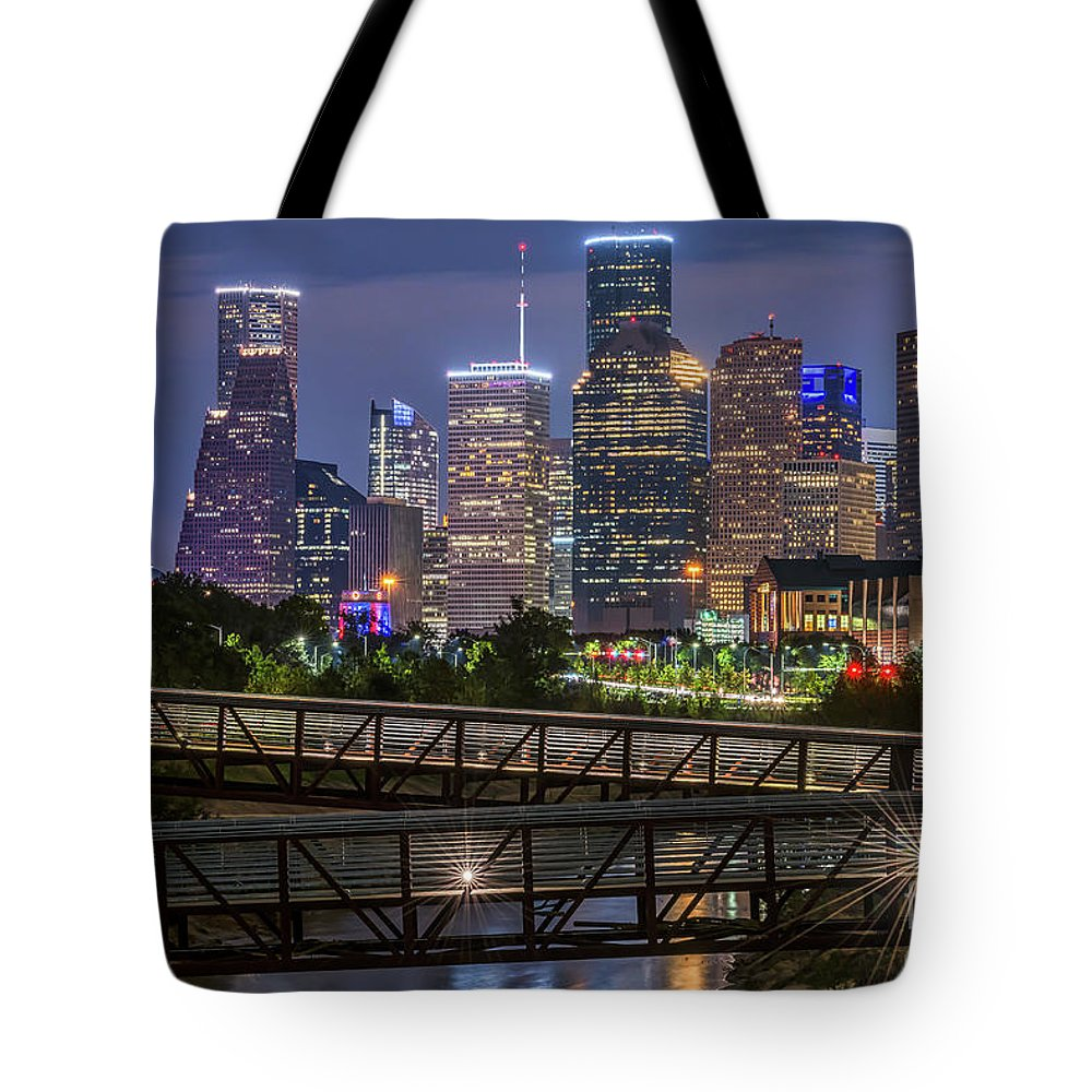 Houston Skyline Tote Bag featuring the photograph Houston Skyline Over Buffalo Bayou At Twilight by Tod and Cynthia Grubbs