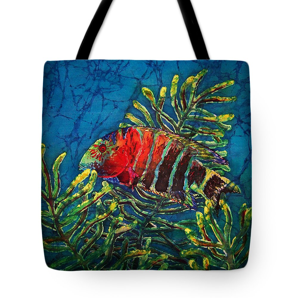 Fish Tote Bag featuring the painting Hovering - Red Banded Wrasse by Sue Duda